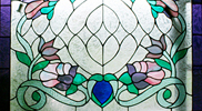 Flowery Stained Glass Window Panel