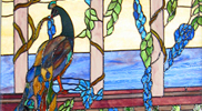 Stained Glass Peacock Window Panel