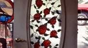 Stained Glass Rose Door